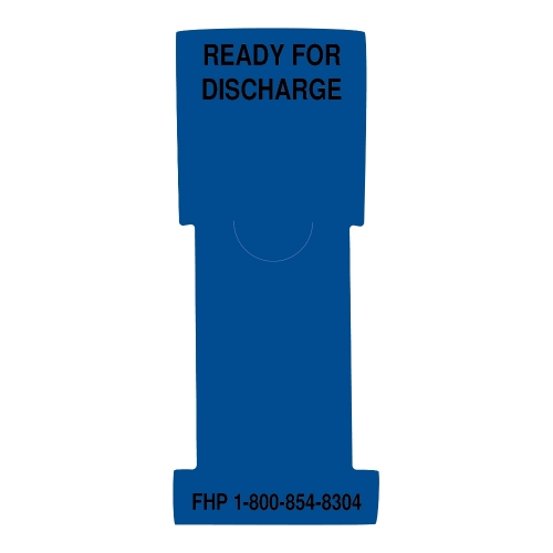 """Ready for Discharge"" Stat Flag, Dark. Blue, Antimicrobial"