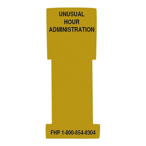 """Unusual Hour Administration"" Stat Flag, Gold, Antimicrobial"