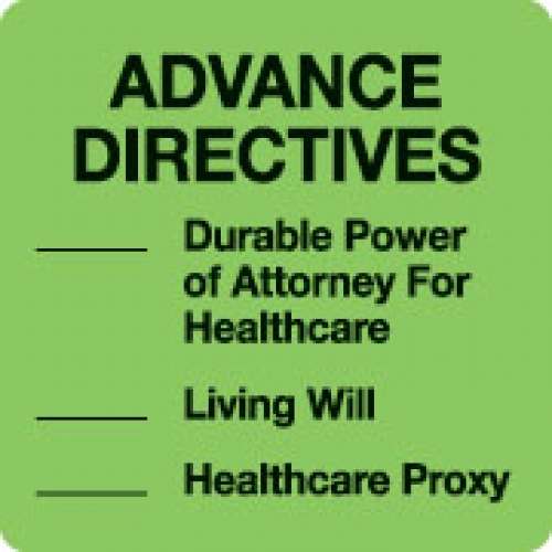 """ADVANCE DIRECTIVES"" Green Fluor. Label 2 1/2"" x 2 1/2"""