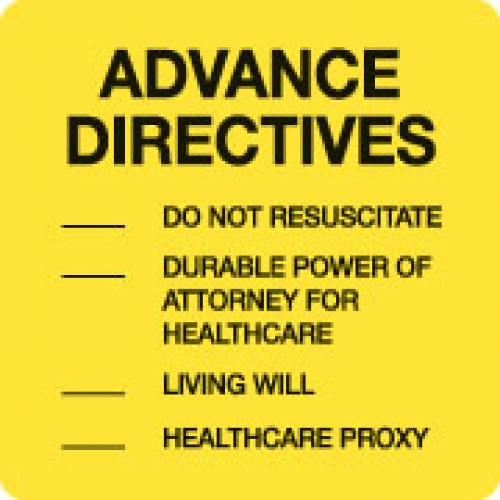 """ADVANCE DIRECTIVES"" Yellow Fluor. Label 2 1/2"" x 2 1/2"" (1)"