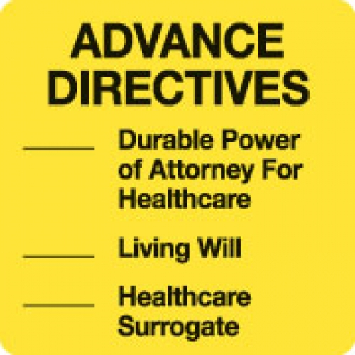 """ADVANCE DIRECTIVES"" Yellow Fluor. Label 2 1/2"" x 2 1/2"" (2)"