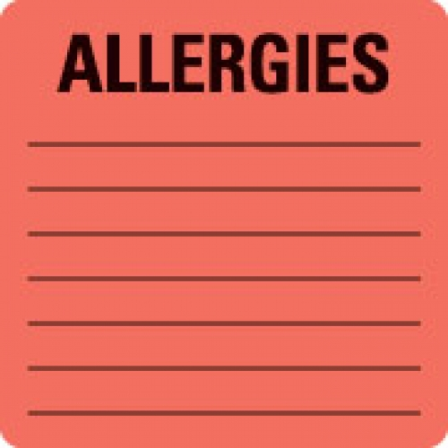 """ALLERGIES"" Red Fluor. Label 2 1/2"" x 2 1/2"""