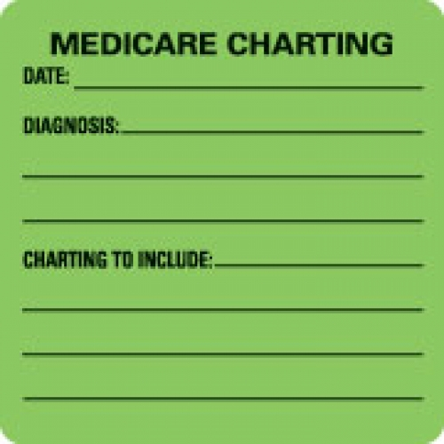 """""""MEDICARE CHARTING"""" Green Fluor. Label 2 1/2"""" x 2 1/2"""""""