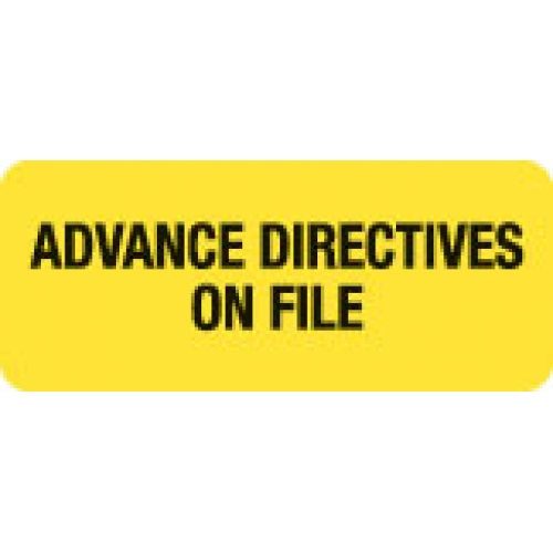 """""""ADVANCE DIRECTIVES ON FILE"""" Yellow Fluor. Label 2 1/4"""" x 15/16"""""""