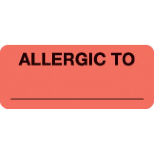 """""""ALLERGIC TO"""" Red Fluor. Label 2 1/4"""" x 15/16"""""""