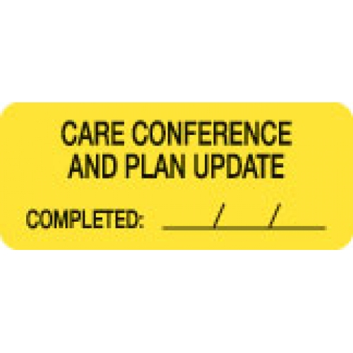"""""""CARE CONFERENCE & PLAN UPDATE"""" Yellow Fluor. Label 2 1/4"""" x 15/16"""""""