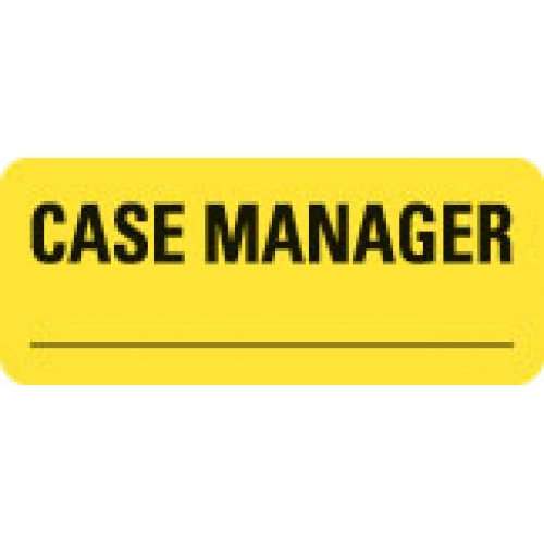 """""""CASE MANAGER _________"""" Yellow Fluor. Label 2 1/4"""" x 15/16"""""""