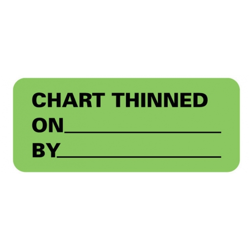 """""""CHART THINNED ON__BY__"""" Green Fluor. Label 2 1/4"""" x 15/16"""""""