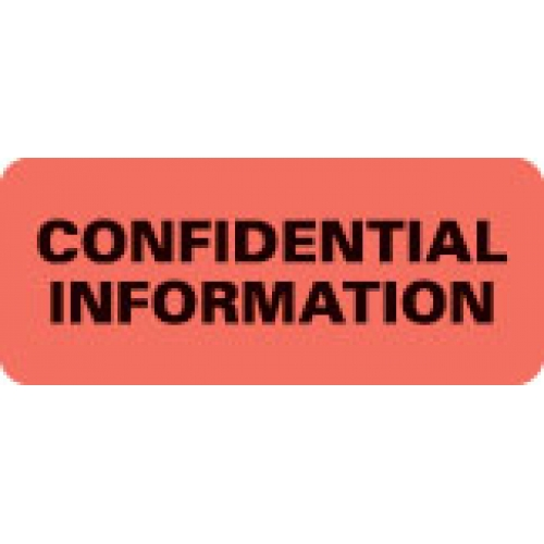 """""""CONFIDENTIAL INFORMATION"""" Red Fluor. Label 2 1/4"""" x 15/16"""""""