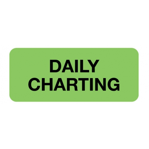 """""""DAILY CHARTING"""" Green Fluor. Label 2 1/4"""" x 15/16"""""""