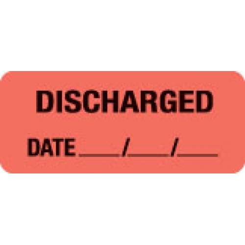 """""""DISCHARGED DATE __/__/__"""" Red Fluor. Label 2 1/4"""" x 15/16"""""""