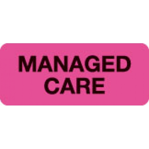 """""""MANAGED CARE"""" Pink Fluor. Label 2 1/4"""" x 15/16"""""""