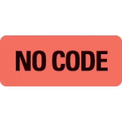 """""""NO CODE"""" Red Fluor. Label 2 1/4"""" x 15/16"""""""