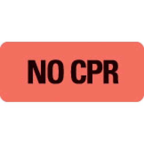 """""""NO CPR"""" Red Fluor. Label 2 1/4"""" x 15/16"""""""