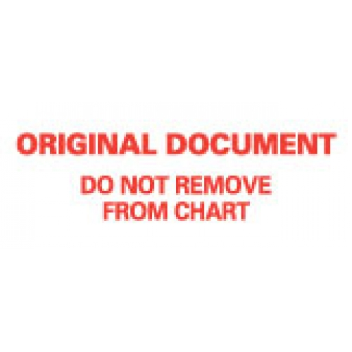 """""""ORIG DOCU DO NOT REMV FRM CHART"""" White wih Red Label 2 1/4"""" x 15/16"""""""
