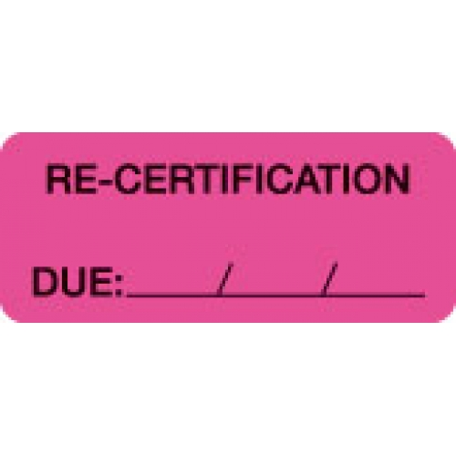 """""""RE-CERTIFICATION DUE: __/__/__"""" Pink Fluor. Label 2 1/4"""" x 15/16"""""""