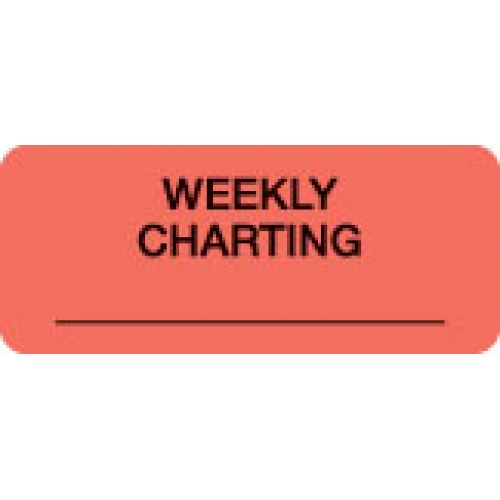 """""""WEEKLY CHARTING"""" Red Fluor. Label 2 1/4"""" x 15/16"""""""