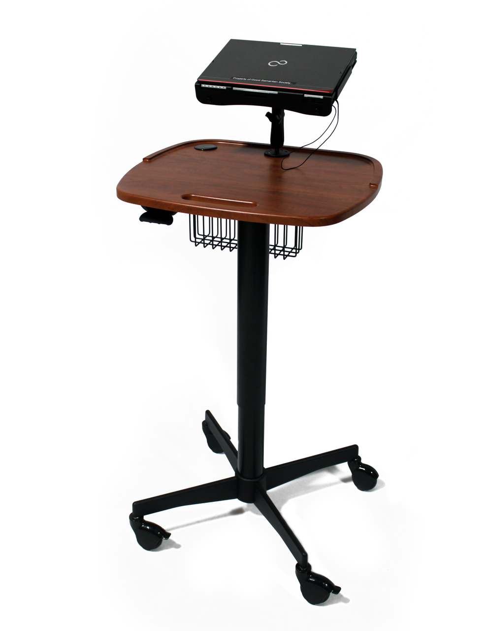Mov-it Rounding Cart w/ Wire Basket & Laptop Mount