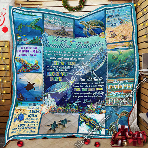 To My Daughter, Love Dad, Turtle LHA442 3D Quilt Blanket