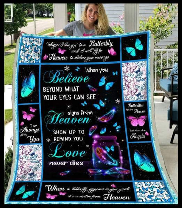 NTR0208 - Butterfly - When you believe beyond the butterflies - - Christmas Gift 3D Quilt Blanket