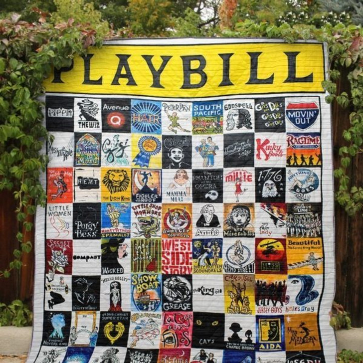 Playbill Memories Fabric 3D Personalized Customized Quilt Blanket ESR35 Design By Exrain.com