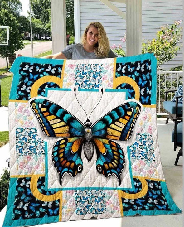 Butterfly Sunshine Blue Love 3D Customized Quilt
