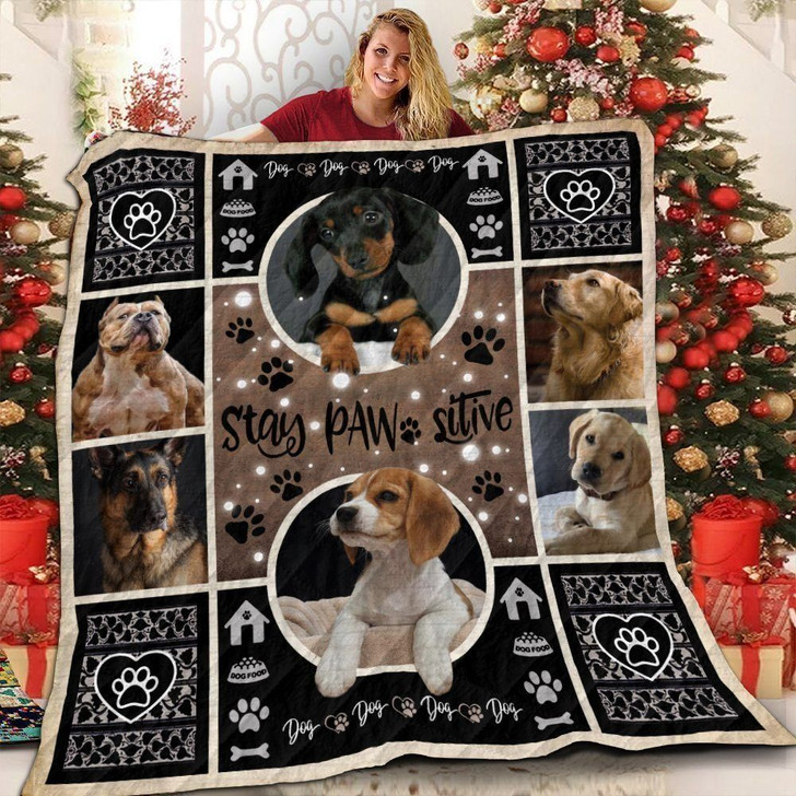 Dog Double Circle 3D Customized Quilt