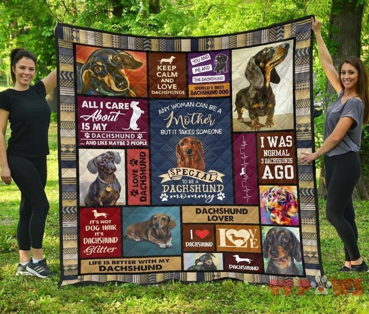 Dachshund Mom V1 QE 3D Customized Quilt