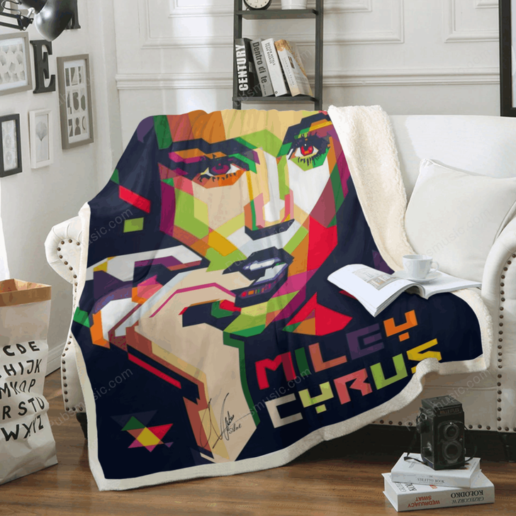 Miley Cyrus - Country Music Art For Fans Sherpa Fleece Blanket