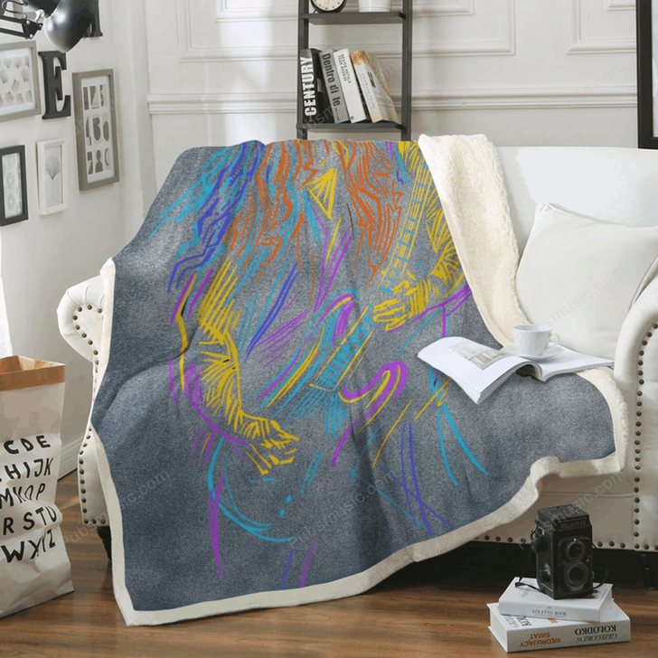 Musician with A Guitarist - Music Art For Fans Sherpa Fleece Blanket