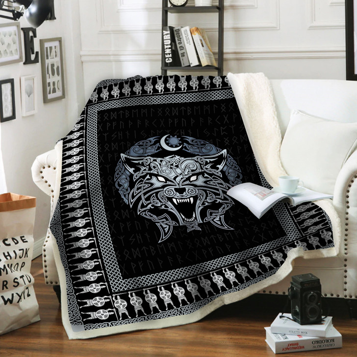 Odin Wolf Viking HUR675 Sherpa Fleece Blanket