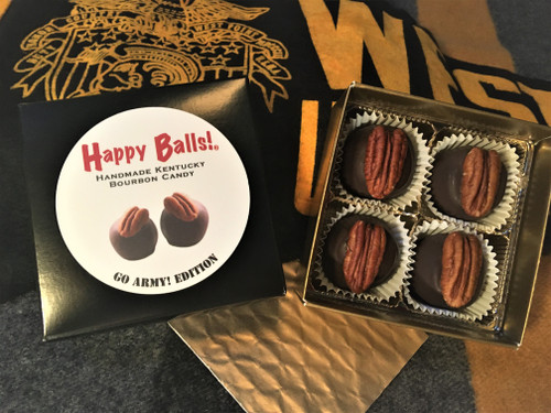 Happy Balls! Go Army Edition.  Same great Balls!  The Uniform is: Rocking-the-Black-and-Gold for Founder's Day!  Two boxes of four Balls! for $18.02!