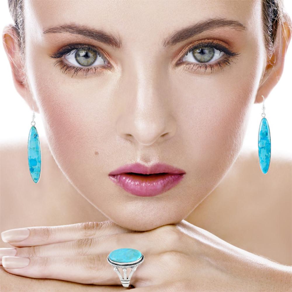 Turquoise Drop Earrings Sterling Silver E1309-C75