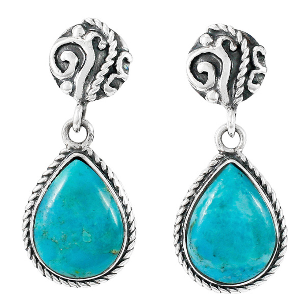Turquoise Earrings Sterling Silver E1317-C75