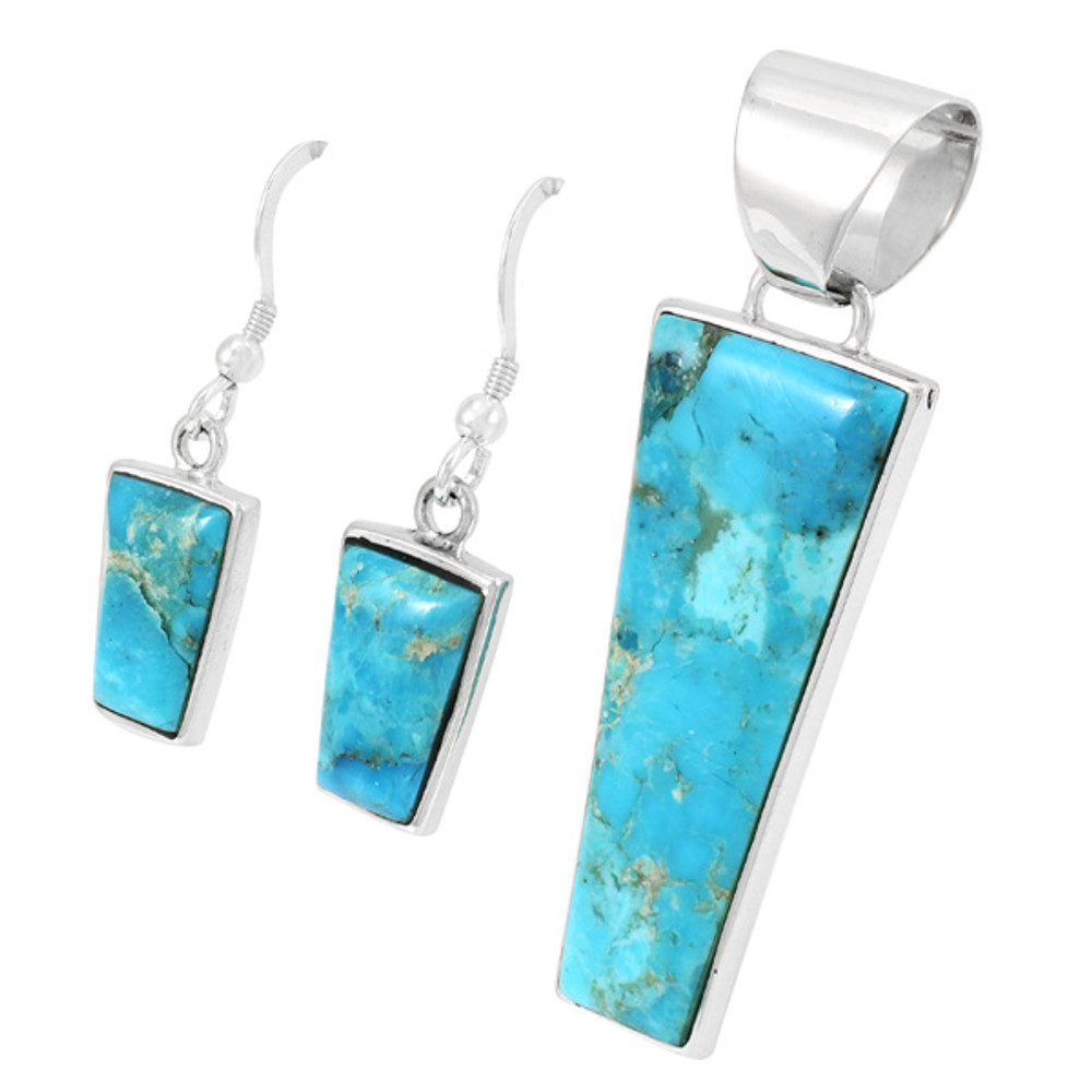 Sterling Silver Pendant & Earrings Set Turquoise PE4012-C75
