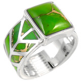 Green Turquoise Ring Sterling Silver R2372-C76