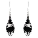 Sterling Silver Earrings Black & White E1231-C35