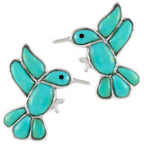 Sterling Silver Hummingbird Earrings Turquoise E1188-C05