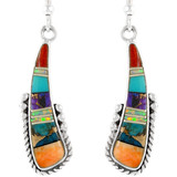 Sterling Silver Earrings Multi Gemstones E1232-C01