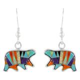 Sterling Silver Bear Earrings Multi Gemstones E1234-C01