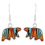 Sterling Silver Bear Earrings Multi Gemstones E1234-C03