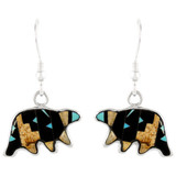 Sterling Silver Bear Earrings Multi Gemstones E1234-C04