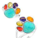 Paw Ring Sterling Silver Multi Gemstone R2405-C71