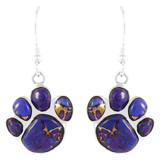 Sterling Silver Paw Earrings Purple Turquoise E1240-C77