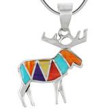 Sterling Silver Moose/Deer Pendant Turquoise P3207-C01