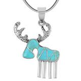 Sterling Silver Moose/Deer Pendant Turquoise P3209-C05