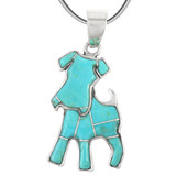 Sterling Silver Puppy Dog Pendant Turquoise P3240-C05