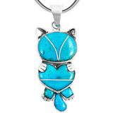 Sterling Silver Kitty Cat Pendant Turquoise P3249-C05