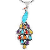 Sterling Silver Peacock Pendant Multi Gemstone P3215-C71