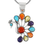 Sterling Silver Peacock Pendant Multi Gemstone P3218-C71